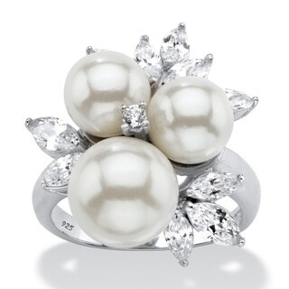 1 7/8ct TCW Round Simulated Pearl and Cubic Zirconia Cocktail Ring in Platinum over Sterli