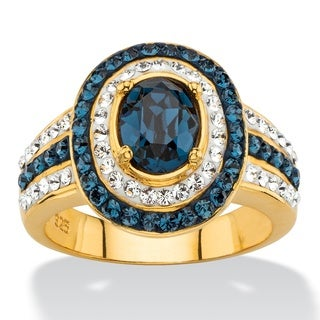 Oval-cut Sapphire Blue and White Crystal Halo Cocktail Ring in 18k Gold Color Fun