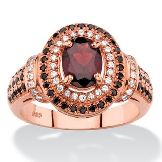 Color Fun Rose Gold Plated 2/3ct TW Oval-cut Simulated Red Garnet Halo Cocktail Ring with