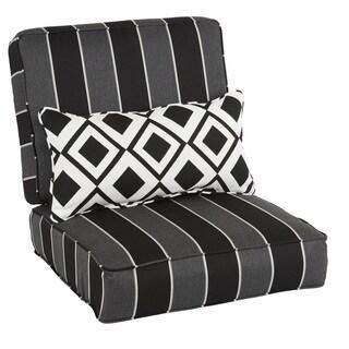 Oakley Sunbrella Striped Indoor/ Outdoor Corded Chair Cushion Set and Lumbar Pillow