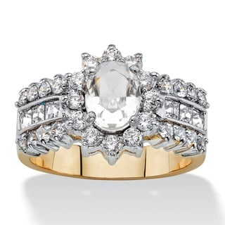 7/8ct TCW Oval-cut Crystal and Cubic Zirconia Halo Cocktail Ring 14k Gold Classic Cubic Zi