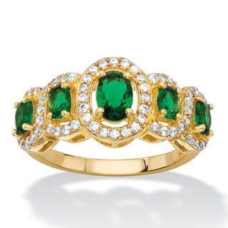 1/3ct TCW Oval-cut Simulated Green Emerald and White Cubic Zirconia Halo Ring 18k Yellow G