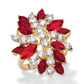 1 7/8ct TCW Marquise-cut Simulated Red Ruby and White Cubic Zirconia Flower Cocktail Ring