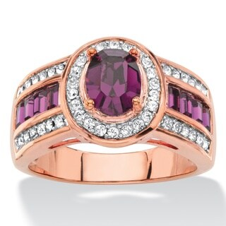 Oval-cut Purple and White Crystal Halo Cocktail Ring Rose Goldplated Color Fun