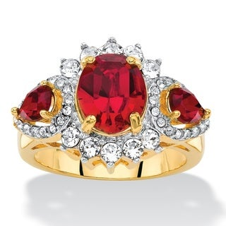 Color Fun Yellow Gold Plated Oval-Cut Red/ White Crystal Halo Cocktail Ring (Made With