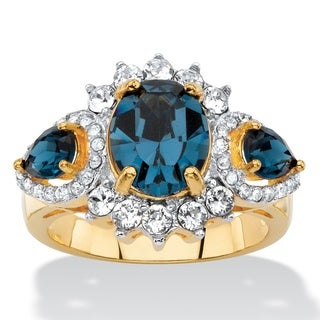 Oval-cut Blue and White Crystal Halo Cocktail Ring 18k Yellow Gold-Plat Color Fun