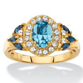 Oval-cut Blue and White Crystal Halo Cocktail Ring 18k Yellow Gold-Plat Color Fun (Option: 10)