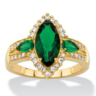 Color Fun 18k Yellow Goldplated 1/3ct TCW Marquise-cut Simulated Green Emerald and Cubic Z