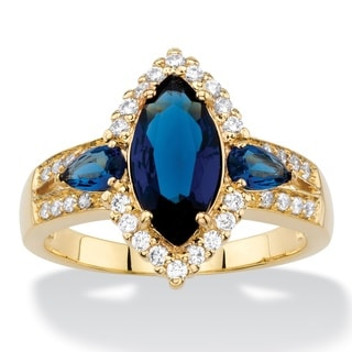 1/3ct TCW Marquise-cut Simulated Blue Sapphire and Cubic Zirconia 18k Yellow Goldplated Ha
