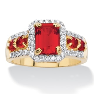 3/8ct TCW Emerald-cut Simulated Red Ruby Halo Cocktail Ring 18k Yellow Goldplated Color Fu