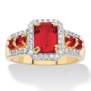 3/8ct TCW Emerald-cut Simulated Red Ruby Halo Cocktail Ring 18k Yellow Goldplated Color Fu (2 options available)