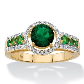 1/4ct TCW Round Simulated Emerald and Cubic Zirconia Halo Ring in 14k Yellow Gold over Ste