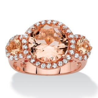 2/5ct TCW Simulated Pink Morganite and Cubic Zirconia Rose Gold over .925 Sterling Silver