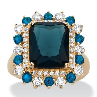 Color Fun 14k Yellow Goldplated 4/5ct Emerald-cut Simulated London Blue Sapphire and Cubic