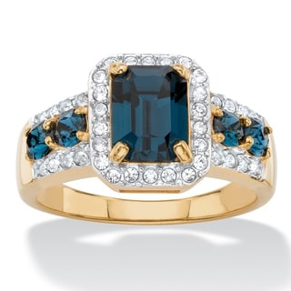 1/4ct TCW Emerald-cut Simulated Blue Sapphire and Cubic Zirconia Halo Cocktail Ring 18k Ye