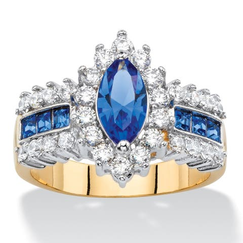 7/8ct TCW Marquise-cut Blue Crystal and Cubic Zirconia Halo Cocktail Ring 14k Yellow Goldp