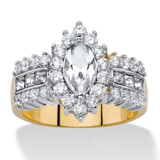 .89 TCW Marquise-Cut White Crystal and Cubic Zirconia Halo Cocktail Ring 14k Yellow Gold-P
