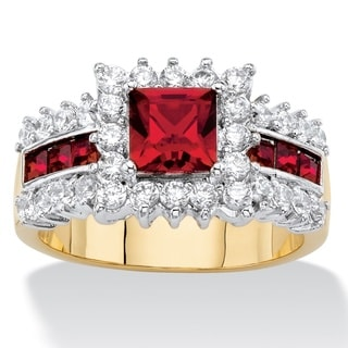 7/8ct TCW Princess-cut Ruby Red Crystal and Cubic Zirconia Halo Cocktail Ring 14k Yellow G