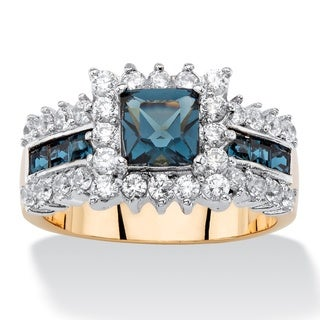 7/8ct TCW Princess-cut Sapphire Blue Crystal and Cubic Zirconia Halo Cocktail Ring 14k Yel