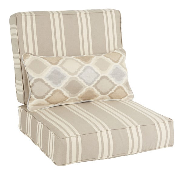 Superieur Oakley Sunbrella Striped Indoor/ Outdoor Corded Chair Cushion Set And  Lumbar Pillow