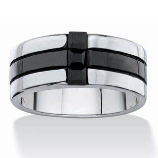 Men's Square-cut Black Crystal Two-tone Polished Ring Band in Black Ion-Plated Stainless S