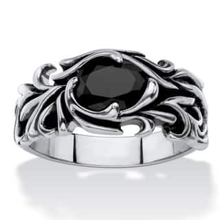 Men's Antiqued Stainless Steel Oval-cut Simulated Black Sapphire Scrolling Leaf Ring|https://ak1.ostkcdn.com/images/products/14124693/P20729693.jpg?impolicy=medium