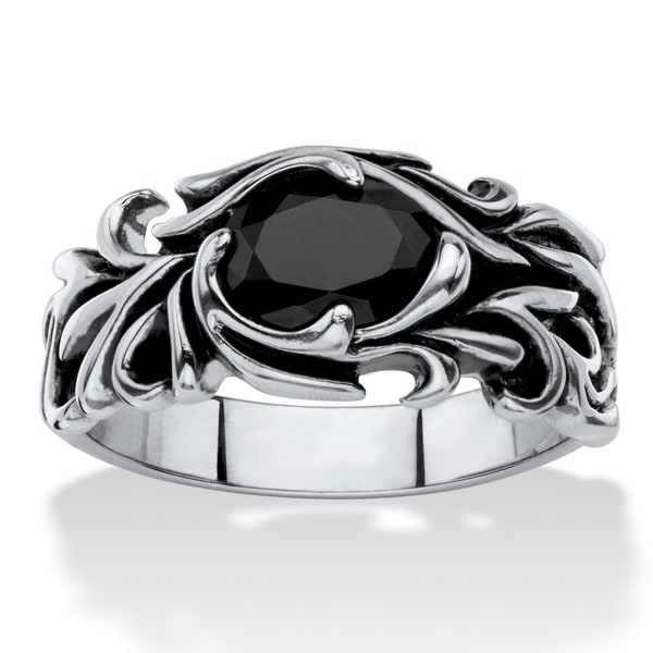 Men's Antiqued Stainless Steel Oval-cut Simulated Black Sapphire Scrolling Leaf Ring