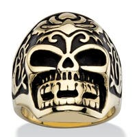 Men's Two-tone Gold Ion-Plated Tribal Skull Ring in Antiqued Stainless Steel