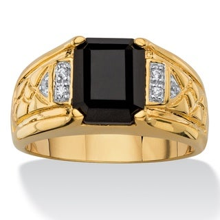 Men's Emerald-cut Faceted Genuine Black Onyx and Diamond Accent Etched Ring 18k Goldplated (3 options available)
