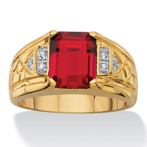 Men's 2 7/8ct TCW Emerald-cut Faceted Genuine Red Garnet and Diamond Accent Etched Ring 18