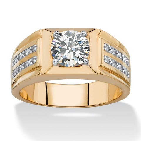 Men's 1 7/8ct TCW Round and Pave White Cubic Zirconia Double Row Ring 14k Goldplated