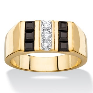Men's 1/5ct TCW Round Cubic Zirconia and Square-cut Genuine Black Onyx Ring 14k Goldplated