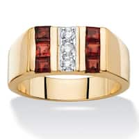 Men's 1 1/2ct TCW Round Cubic Zirconia and Square-cut Genuine Red Garnet Ring 14k Goldplat
