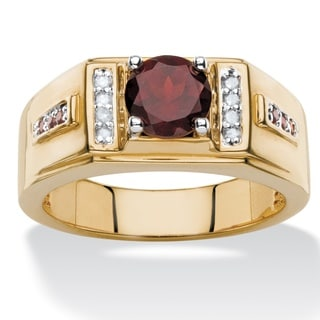 Men's 1 3/4Ct TCW Round Genuine Red Garnet and Diamond Accent Classic Ring Yellow Gold