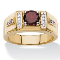 Men's 1 3/4ct TCW Round Genuine Red Garnet and Diamond Accent Classic Ring 14k Yellow Gold