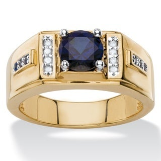 Men's 1 7/8ct TCW Round Lab Created Midnight Blue Sapphire and Diamond AccentClassic Ring