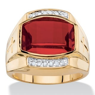 Men's 5 5/8ct TCW Cushion-cut Lab Created Red Ruby and Diamond Ring 18k Yellow Goldplated