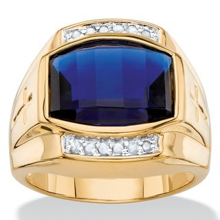 Men's 5.61 TCW Cushion-cut Lab Created Blue Sapphire and Diamond Ring 18k Yellow Goldplate