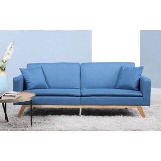 Modern Tufted Linen Splitback Recliner Sleeper Futon Sofa