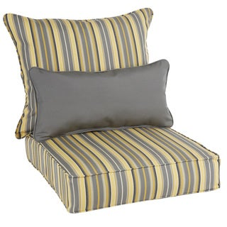 Humble + Haute Oakley Sunbrella Striped Indoor/ Outdoor Corded Pillow and Grey Chair Cushion Set