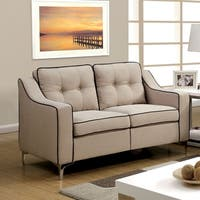 Sylvanas Contemporary Tufted Fabric Loveseat By Furniture of America