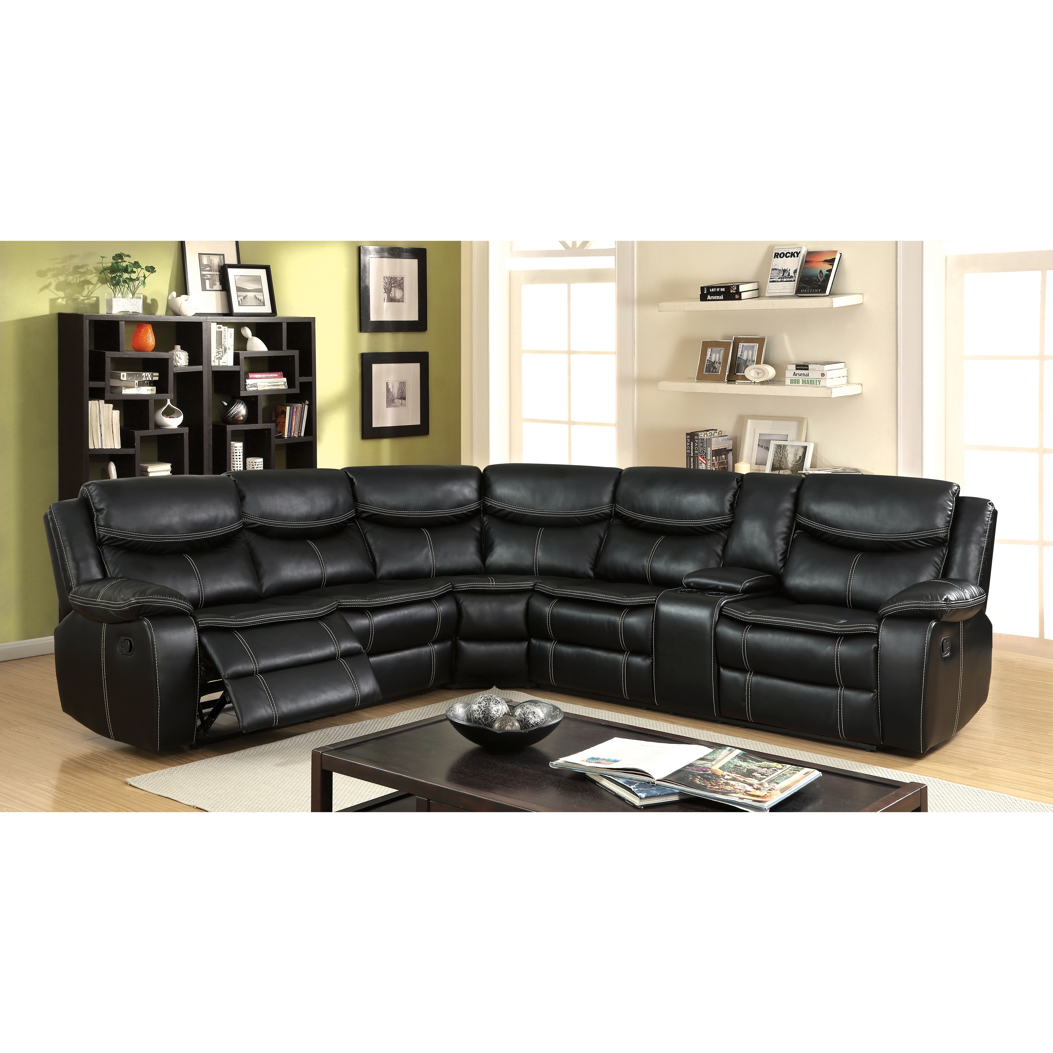 Furniture of America Garmo Black Breathable Leather L-Shaped Reclining  Sectional with Console