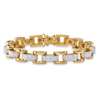 Men's Diamond Accent Pave-Style Two-tone Fancy-Link Bracelet 18k Yellow Goldplated 8.5 Inc