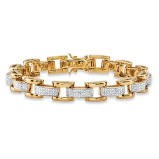 Men's Yellow Gold-Plated Link Bracelet (8.5mm), Genuine Diamond Accent 8.5""
