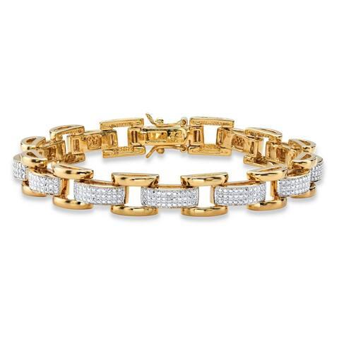"Men's Yellow Gold-Plated Link Bracelet (8.5mm), Genuine Diamond Accent 8.5"""
