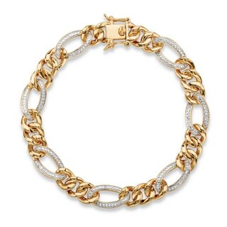 Men's White Diamond Accent Two-tone 18k Goldplated Pave-Style Oval Loop Curb-Link Bracelet