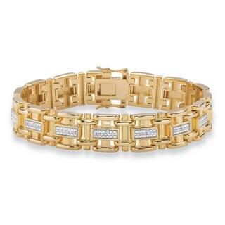 "Men's Yellow Gold-Plated Link Bracelet (14mm), Genuine Diamond Accent 8.5"""