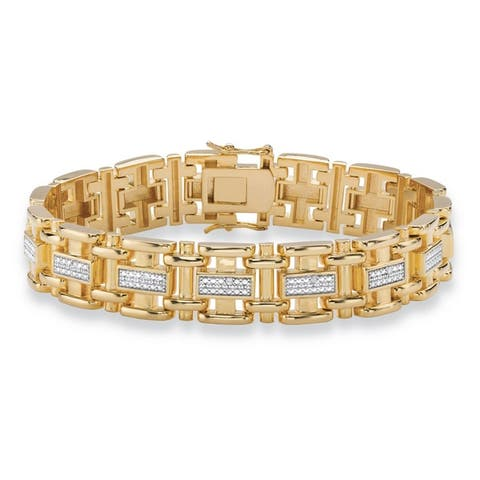 Men's Yellow Gold-Plated Link Bracelet (14mm), Genuine Diamond Accent 8.5""