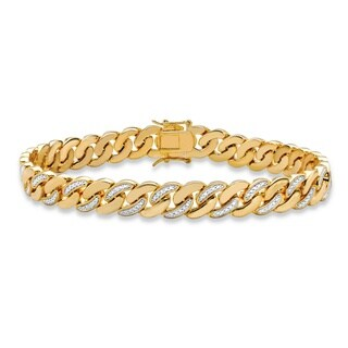 """Men's Yellow Gold-Plated Curb-Link Bracelet (9mm), Genuine Diamond Accent 8.5"""""""