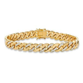 Men S Yellow Gold Plated Curb Link Bracelet 9mm Genuine Diamond Accent